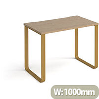 Cairo Rectangular Home Office Desk With Brass Sleigh Frame Legs Kendal Oak Desktop W1000xD600xH730mm
