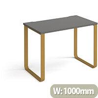 Cairo Rectangular Home Office Desk With Brass Sleigh Frame Legs Onyx Grey Desktop W1000xD600xH730mm