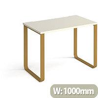 Cairo Rectangular Home Office Desk With Brass Sleigh Frame Legs White Desktop W1000xD600xH730mm