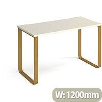 Cairo Rectangular Home Office Desk With Brass Sleigh Frame Legs White Desktop W1200xD600xH730mm