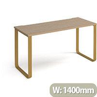 Cairo Rectangular Home Office Desk With Brass Sleigh Frame Legs Kendal Oak Desktop W1400xD600xH730mm