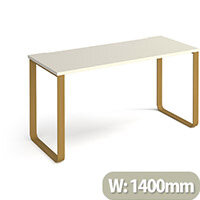 Cairo Rectangular Home Office Desk With Brass Sleigh Frame Legs White Desktop W1400xD600xH730mm