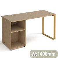 Cairo Rectangular Home Office Desk With Brass Sleigh Frame Leg Kendal Oak Desktop & Support Pedestal W1400xD600xH730mm