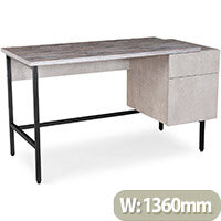 Delphi Home Office Workstation With Integrated Pedestal Concrete Grey with Black Frame W1360xD600xH760mm