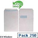 Ecolabel C4 Window 90gsm Envelopes White Pocket Recycled Press Seal (Pack 250)