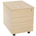Jemini Intro 3-Drawer Mobile Pedestal Warm Maple