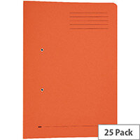Foolscap Transfer Spring File with Pocket Recycled Orange 32mm Pack 25 Elba Stratford