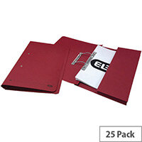 Foolscap Transfer Spring File with Pocket Recycled Pink 32mm Pack 25 Elba Stratford