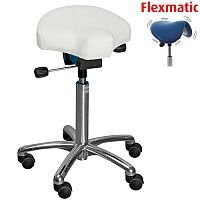 Gamma Flexmatic Optimum Adjustment Seat Saddle Stool With White Leather Look Seat Upholstery H570 - 760mm