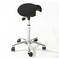 Mini Easymek Seat Saddle Stool With Black Leather Look Seat Upholstery H570 -760mm