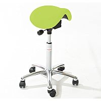 Mini Easymek Seat Saddle Stool With Green Leather Look Seat Upholstery H570 - 760mm
