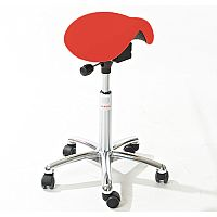 Mini Easymek Seat Saddle Stool With Red Leather Look Seat Upholstery H570 -760mm