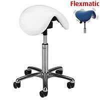 Dalton Flexmatic Optimum Adjustment Seat Saddle Stool With White Leather Look Seat Upholstery H570 - 760mm