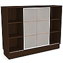 Grand Medium Cube Shelf Bookcase With Sliding Frosted Glass Door Dark Walnut