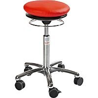 Pilates Air-Seat Ergonomic Stool With Red Leather Look Seat Upholstery H450 - 640mm