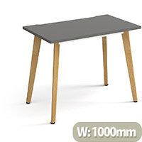 Giza Rectangular Home Office Desk Onyx Grey Desktop & Natural Oak Wooden Legs W1000xD600xH750mm