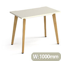 Giza Rectangular Home Office Desk White Desktop & Natural Oak Wooden Legs W1000xD600xH750mm