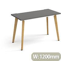 Giza Rectangular Home Office Desk Onyx Grey Desktop & Natural Oak Wooden Legs W1200xD600xH750mm