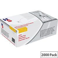 Disposable Powder Free Nitrile Examination Gloves White Medium Pk 10x200 Handsafe GN92