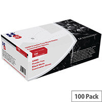 Disposable Powder Free Nitrile Examination Gloves Black Medium Pack of 100 Handsafe GN80