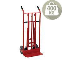 Hand Truck 3-in-1 PU Wheel/Castors Red Capacity 400Kg 372147
