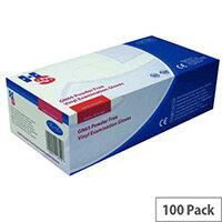 Disposable Powder-Free Vinyl Examination Gloves Clear Medium Pack of 100 Handsafe GN65