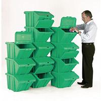 Heavy Duty Storage Bin with Lid Green Pack of 12 374352