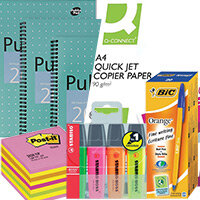 Home Office Essential Stationery Bundle -  Pens Pk 20 & Notepads Pk 3 & A4 Paper & Sticky Notes & Highlighters