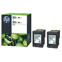 HP301XL Black Ink Cartridge Twin Pack Black D8J45AE