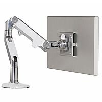 Humanscale M8 Monitor Arm Polished Aluminium With White Trim VESA Mount Compatible