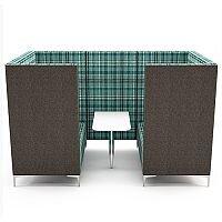 Meeting Pod HUDDLE CAVE With Grey Exterior & Green Tartan Fabric Interior