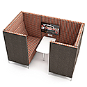 Meeting Pod HUDDLE CAVE With Grey Exterior & Red Checkered Fabric Interior