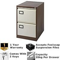 2-Drawer Filing Cabinet Coffee & Cream Jemini By Bisley -  For Foolscap Suspension Filing - Lockable - 5 Year Warranty
