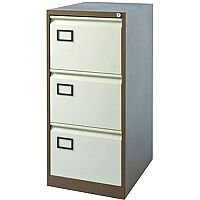 3-Drawer Filing Cabinet Coffee & Cream Jemini By Bisley - Foolscap Suspension Filing - Lockable - 5 Year Warranty
