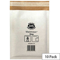 Jiffy Mailmiser Bubble Lined Size 1 170x245mm White Pack of 10