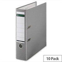 Leitz 180 Polypropylene A4 80mm Grey Lever Arch File Pack of 10