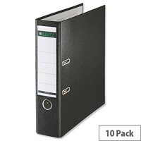 Leitz 180 Polypropylene A4 80mm Black Lever Arch File Pack of 10