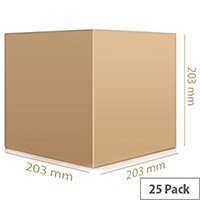 Single Wall Brown Corrugated Packing Cardboard WxHxD 203x203x203mm (25 Pack) Ref SC-05