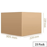 Single Wall 305x229x229mm Brown Corrugated Packing Cardboard Boxes (25 Pack)