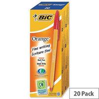Bic Orange Ballpoint Pen Red Pack 20