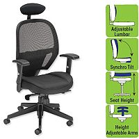 Influx Amaze Mesh Task Operator Black Office Chair - headrest, lumbar support, adjustable arms, height adjustable seat & syncro tilt - perfect for office or home office use