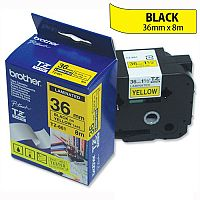 Brother TZ661 P-touch TZ Tape 36mm x 8m Black on Yellow
