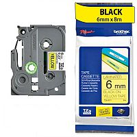 Brother TZ611 P-touch TZ Label Tape 6mm x 8m Black on Yellow