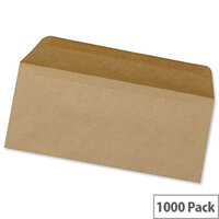 5 Star Office Envelopes Lightweight Wallet Gummed Manilla DL (Pack 1000)