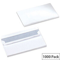 5 Star Office White DL Envelopes Self Seal Wallet 80gsm Pack of 1000