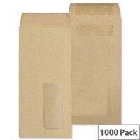 New Guardian DL Envelopes Pocket Self Seal Window Manilla 80gsm Pack of 1000