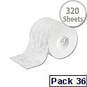 2Work Dispenser Toilet Roll 2-Ply 320 Sheet Pack of 36 T23002