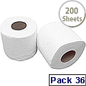 2Work Dispenser Toilet Roll 2-Ply 200 Sheet Pack of 36 T22006