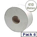 2Work Jumbo Dispenser Toilet Roll 2-Ply 410 Metre 60mm Core Pack of 6 J26410