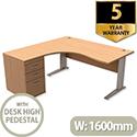 Komo Crescent Left Hand Desk With Desk High Pedestal Beech